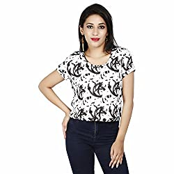 LALANA Multicolor Abstract Print Cotton Jersey Crop Top