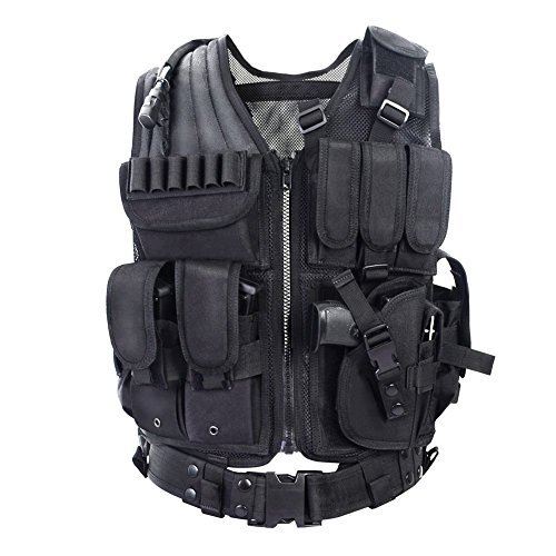 YAKEDA® Fan Army Tactical Vest CS campo Outdoor Equipment Forniture respirabile leggera gilet tattico SWAT Tactical Vest Forze Speciali addestramento al combattimento gilet - VT-1063 (nero)