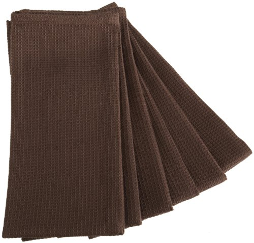 DII Waffle 18-Inch-by-28-Inch Kitchen Towel, Set of 6, Truffle Brown