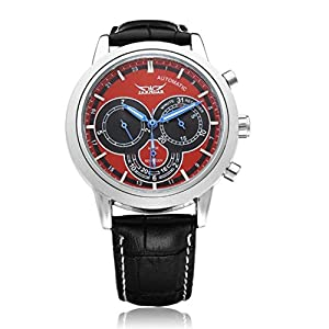JARAGAR Men's Analog 3 Dial Mechanical Automatic Red Wristwatch