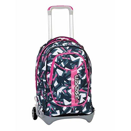 3 in 1 ZAINO TROLLEY SEVEN NEW JACK - TAG GIRL - Rosa Nero - SGANCIABILE e LAVABILE - Scuola e viaggio