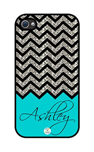 iZERCASE Personalized Turquoise Chevron Pattern rubber iphone 4 case (NOT GLITTERY) - Fits iphone 4 & iphone 4s (Personalized Cases For Iphone 4s compare prices)