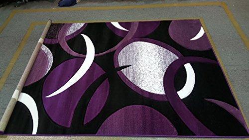 Dark Purple Black White Color Bonita Abstract Design 5'x8' Thick Pile High Density Carpet Area Rug Floor Mat Livingroom Bedroom Deco'r 1010