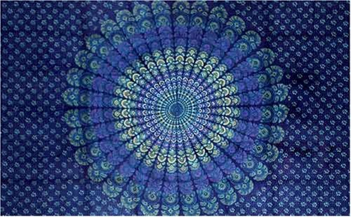 Best Prices! Dark Blue Sanganeer Print Indian Bedspread, Queen Size