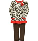 Hartstrings Christmas Little Girls Animal Print Tunic with Brown Legging