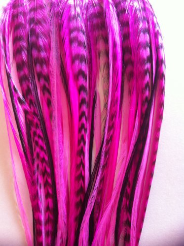 Glam Up Your Hair With Hot Pinks & Black Feather Hair Extension Bonded with 5 Salon Quality Feathers