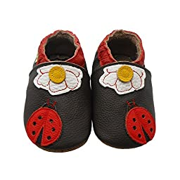 Sayoyo Baby Ladybug Soft Sole Brown Leather Infant And Toddler Shoes 0-6Months