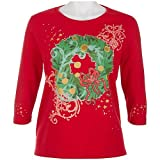 Petite Coral Bay Petite 3/4 Sleeve Christmas Wreath Top