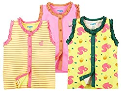 Snuggles Sleeveless Front Open Vests Squirrel Print (Pack Of 3) - Pastel Yellow/Sachet Pink (0-3M)