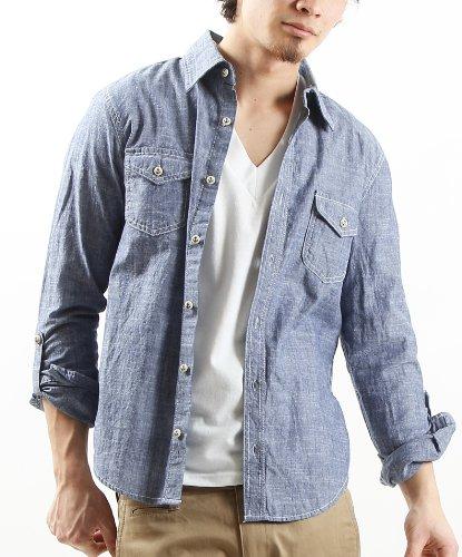 マリン ボタン使い スラブ コットン シャンブレー シャツ デニム 長袖 メンズ Mサイズ ブルー