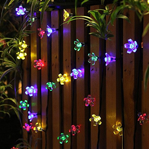 50 LEDS Holiday Decorations Solar String Lights Flower Garden Lights Panpany Outdoor Lighting  for Indoor, Patio, Fence,Patio, Party (Garden Decorations Outdoor compare prices)