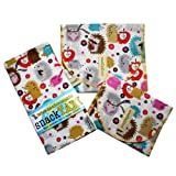 SnackTaxi Reusable Sandwich-sack Bag, Snack-sack Bag and Twice-as-nice Napkin Hedgehog Meadow Set.