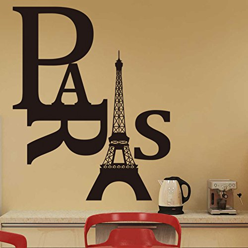 Witkey Paris Eiffel Tower Wall Paper Art Vinyl Decal Sticker DIY For Kids Room Living Room - 1