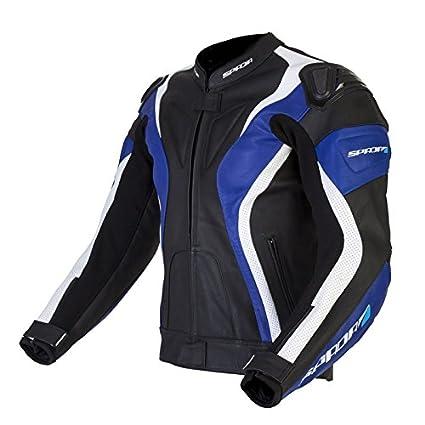 Courbe de nouveau 2015 Spada veste de moto en cuir noir/bleu/blanc