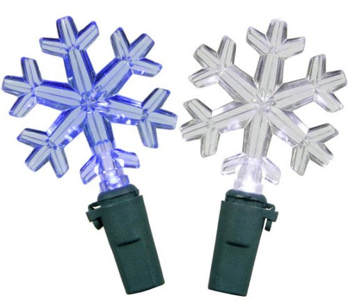 Set Of 30 Blue And Pure White Led Snowflake Christmas Lights - Green Wire