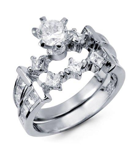 Sterling Silver Round Princess Cut CZ Wedding Ring Set