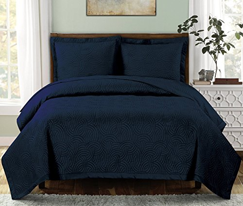 Emerson-Navy- Full/Queen size, Over-Sized Quilt 3pc set, Luxury Microfiber Coverlet 92