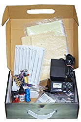 Learner body Tattoo making Kit includes 1 Basic machine, Tattoo Needles, Foot Switch, Clip cord, Tattoo Ink, Power Supply, Tattoo Stensils, Tattoo Tips, Learner DVD-I, etc. all in one carry case