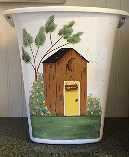 Old Fashioned Outhouse with Rose bushes Bathroom Trash Can