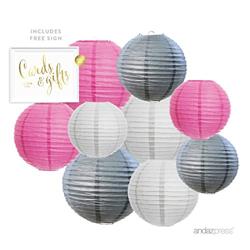 Andaz Press Hanging Paper Lantern Party Decor Trio Kit with Free Party Sign, White, Pink, Gray 9-Pack, For Elephant Baby Shower Decorations (Pink Grey Baby Shower compare prices)