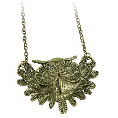 Rosallini Bronze Tone Lobster Hook Owl Design Pendant Chain Necklace for Women