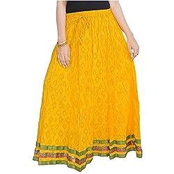 SHREEMANGALAMMART Rajasthani Ethnic Yellow Cotton Skirt (Yellow)(SMSKT602)