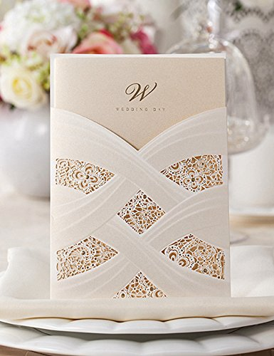 Doris Home 100pcs Vertical Laser Cut Wedding Invitation with White Hollow Flora(set of 100 Pcs)