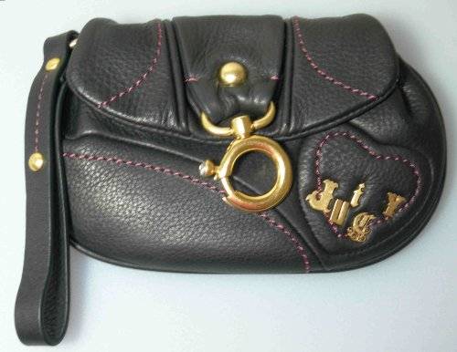 Authentic Juicy Couture Black Leather (Pink Stitching) Wristlet / Wallet - New