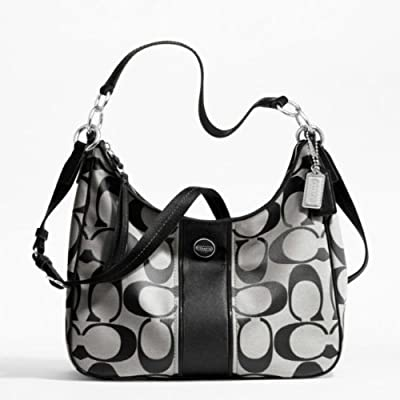 Coach 28681 Black & White Signature Stripe Convertible Hobo Handbag