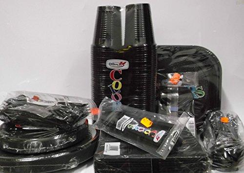 Set tavola party piatti bicchieri posate tovaglioli in plastica Dopla Nero