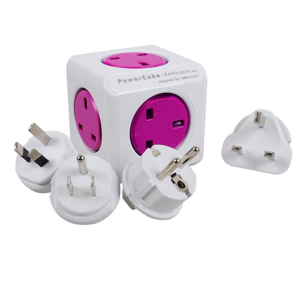 Allocacoc PowerCube 5 Outlets with 4 Universal Travel Plugs Wall Adapter UK Socket Power Strip with Resettable Fuse(Purple)