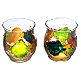 ArtisanStreet's Set of 2 Hand Painted Votive Candle Holders in Green & Gold. One of a Kind Signed by Artisan