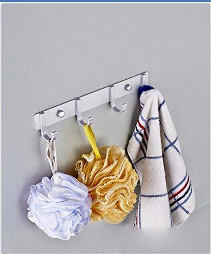 La cucina e il bagno Asciugamani rampa gancio/Rack per montaggio a parete:ricoprire Robe Hat vestiti per il montaggio a parete Staffa gancio porta asciugamani,gancio in alluminio per il montaggio a parete Gig spazio,4 ganci
