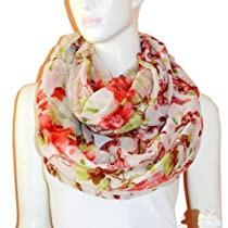 Floral Butterfly Dot Light Weight X-large Infinity Scarf (White)