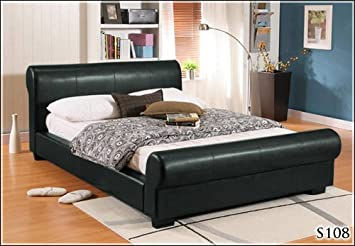 "NEW 4ft 6"" FAUX DOUBLE BLACK LEATHER SCROLL SLEIGH BED FRAME AND DELUXE SLUMBER SLEEP QUALITY SPRUNG MATTRESS"