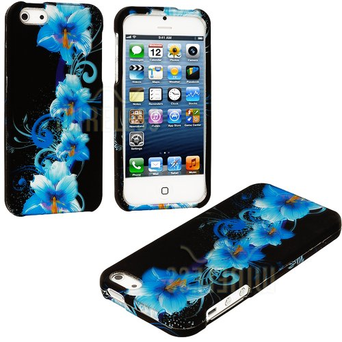 Mylife Blue Tropical Flowers Series (2 Piece Snap On) Hardshell Plates Case For The Iphone 5/5S (5G) 5Th Generation Touch Phone (Clip Fitted Front And Back Solid Cover Case + Rubberized Tough Armor Skin)