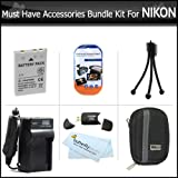 Must Have Accessories Bundle Kit For Nikon Coolpix S800c, S6300 S6200 S8200 AW100 S1200pj S6000 S6100 S8000 S8100 S9100 S9300 P330 S9200 AW110 Digital Camera Includes Extended (1100maH) Replacement Nikon EN-EL12 Battery + AC/DC Charger + Case + USB Reader