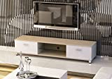 New Black/White/White Oak LED/LCD/Plasma High Gloss MDF TV Stand With or Without LED Lights for 32 to 70 inches with two drawers and Glass Shelf by Limitless Base (White/Oak), width 160cm
