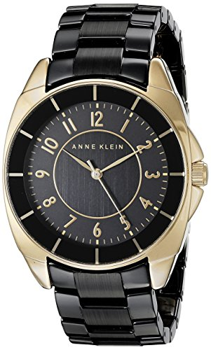 Anne Klein Women's AK/1978BKGB Easy To Read Dial Gold-Tone and Black Ceramic Bracelet Watch