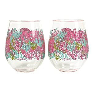 Lilly Pulitzer Acrylic Stemless Wine Glass Set - Let's Cha Cha - Kitchen Beverage Travel Wine 134414-LGPLP