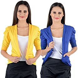 Yellow & Blue Cotton Gathering Sleeve Regular Fit Shrugs (Combo Set of 2)
