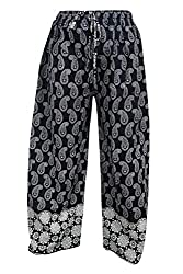 Indiatrendzs Women Pants Black Rayon Paisley Print Evening Wear Harem Yoga Pant