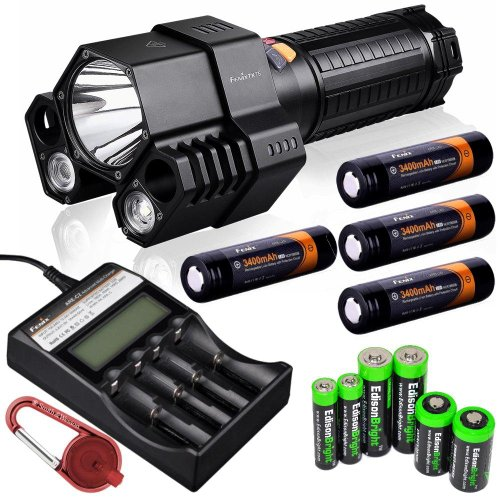 Fenix Tk76 2800 Lumen Triple Beam Cree Xm-L2 U2 Led Flashlight With Four Fenix 18650 Arb-L2S 3400Mah Rechargeable Batteries, Fenix Are-C2 Four Bays Li-Ion/ Ni-Mh Advanced Universal Smart Battery Charger, Red Smith & Wesson Led Carabeamer Clip Light With E