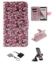LG G4 Wallet Case , Castle Cas [Floral] Duplex Design Flip Card Slot Slim Fit Magnetic Premium Polyurethane Leather TPU Cover Case With Car Mount Phone Holder - Color