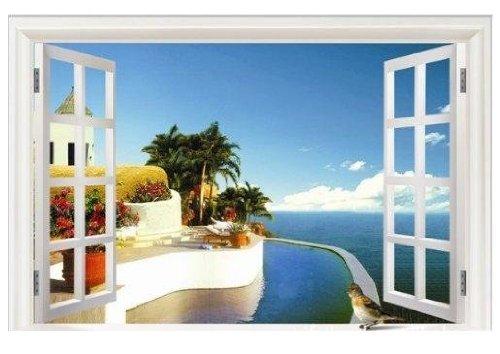 模様 替え! ウォール ステッカー シール 地中海 の 窓辺(MAUMU)1897