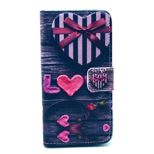 """Love Graphic Cute Fashion Magnetic Snap Wallet Flip Tpu Leather With Stand Cover Case For Sony Xperia Z1 Compact Mini D5503 M51W(Not For Sony Xperia Z1S)(Package Includes: 1 X Screen Protector And Stylus Pen Image""""Gift_Source"""")"""