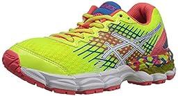 ASICS GEL Nimbus 17 GS Running Shoe (Little Kid/Big Kid),Flash Yellow/Flash Pink/Blue,1 M US Little Kid