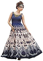 PANCH JANYA Women's Art Silk Unstitched Dress Material (Blue and Cream)