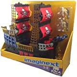 Fisher price Imaginext Black and Red Pirate Ship with 2 Figures Skull Bones Sails