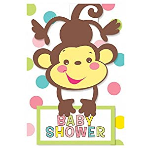 Fisher Price Invitations Party Invites (8) Baby Shower Monkey Party Supplies